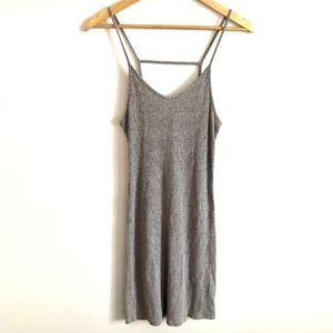Topshop Tall Gray Ribbed Bodycon Cami Dress